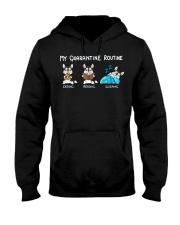 My Quarantine Routine husky Hooded Sweatshirt thumbnail