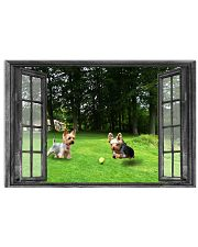 Yorkie Play In Garden Through The Window Poster Large Wall Art 17x11 Poster front