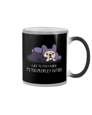I Like To Stay Insde It'S Too Peopley frenchie 1 Color Changing Mug thumbnail