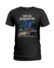 Social Distancing Pitbull Social Distancing Ladies T-Shirt thumbnail