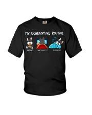 My Quarantine Routine schnauzer4 Youth T-Shirt thumbnail