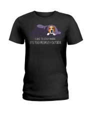 I Like To Stay Inside It'S Too Peopley beagle 1 Ladies T-Shirt thumbnail