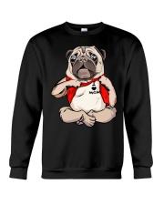 I Love Mom Chest Tattoo Pug Crewneck Sweatshirt thumbnail