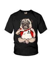 I Love Mom Chest Tattoo Pug Youth T-Shirt thumbnail