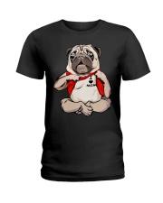I Love Mom Chest Tattoo Pug Ladies T-Shirt thumbnail
