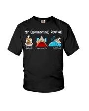 My Quarantine Routine australian shepherd4 Youth T-Shirt thumbnail