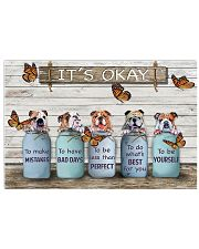 Bulldog And Butterfly It's Okay Poster Cute Wall Decor 17x11 Poster front
