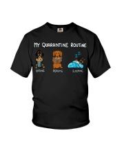 My Quarantine Routine dachshund4 Youth T-Shirt thumbnail