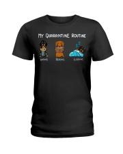 My Quarantine Routine dachshund4 Ladies T-Shirt thumbnail