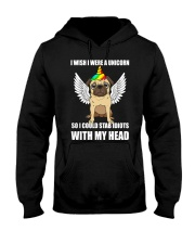 I Wish I Were A Unicorn So I Could Stab Pug Hooded Sweatshirt thumbnail