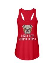 I Only Bite Stupid People bulldog Ladies Flowy Tank thumbnail