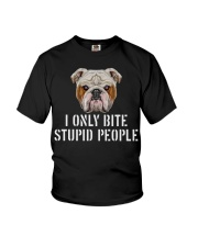 I Only Bite Stupid People bulldog Youth T-Shirt thumbnail