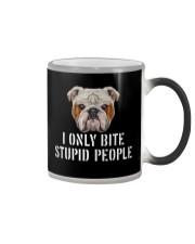 I Only Bite Stupid People bulldog Color Changing Mug thumbnail