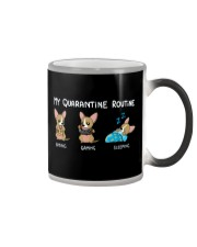My Quarantine Routine chihuahua 2 Color Changing Mug tile