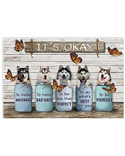 Husky And Butterflies It's Okay Poster Dog Art Prints At Home Decor 17x11 Poster front