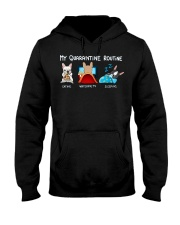 My Quarantine Routine frenchie3 Hooded Sweatshirt thumbnail