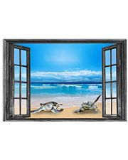 Sea Turtle On The Beach Through The Window Poster Modern House Decor 17x11 Poster front