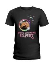 Social Distancing Expert frenchie 2 Ladies T-Shirt thumbnail