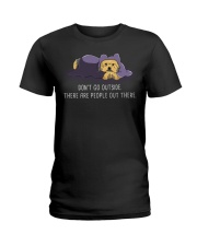 Don'T Go Outside There Are People Out There yorkie Ladies T-Shirt thumbnail