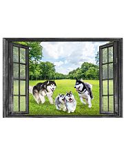 Alaskan Malamute Playing In The Park Through The Window Poster Cute Wall Art For Bedroom 17x11 Poster front