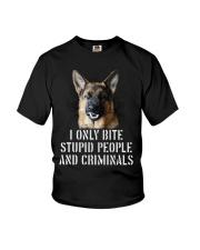 I Only Bite Stupid Peo Ple German Shepherd Crimina Youth T-Shirt thumbnail