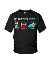 My Quarantine Routine husky4 Youth T-Shirt tile