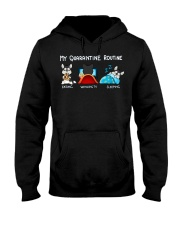 My Quarantine Routine husky4 Hooded Sweatshirt tile