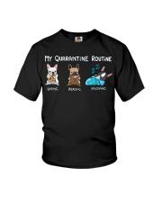 My Quarantine Routine frenchie2 Youth T-Shirt thumbnail