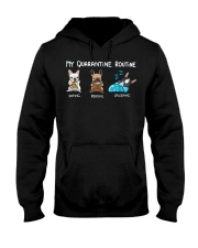 My Quarantine Routine frenchie2 Hooded Sweatshirt thumbnail