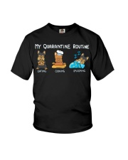 My Quarantine Routine Yorkie Youth T-Shirt tile