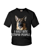 I Only Bite Stupid People German Shepherd Youth T-Shirt tile