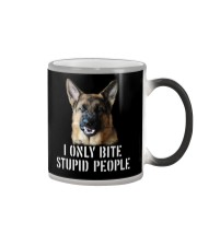 I Only Bite Stupid People German Shepherd Color Changing Mug tile