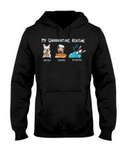 My Quarantine Routine frenchie4 Hooded Sweatshirt tile