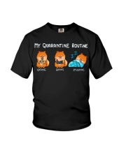 My Quarantine Routine Pomeranian Youth T-Shirt thumbnail