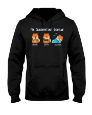 My Quarantine Routine Pomeranian Hooded Sweatshirt thumbnail