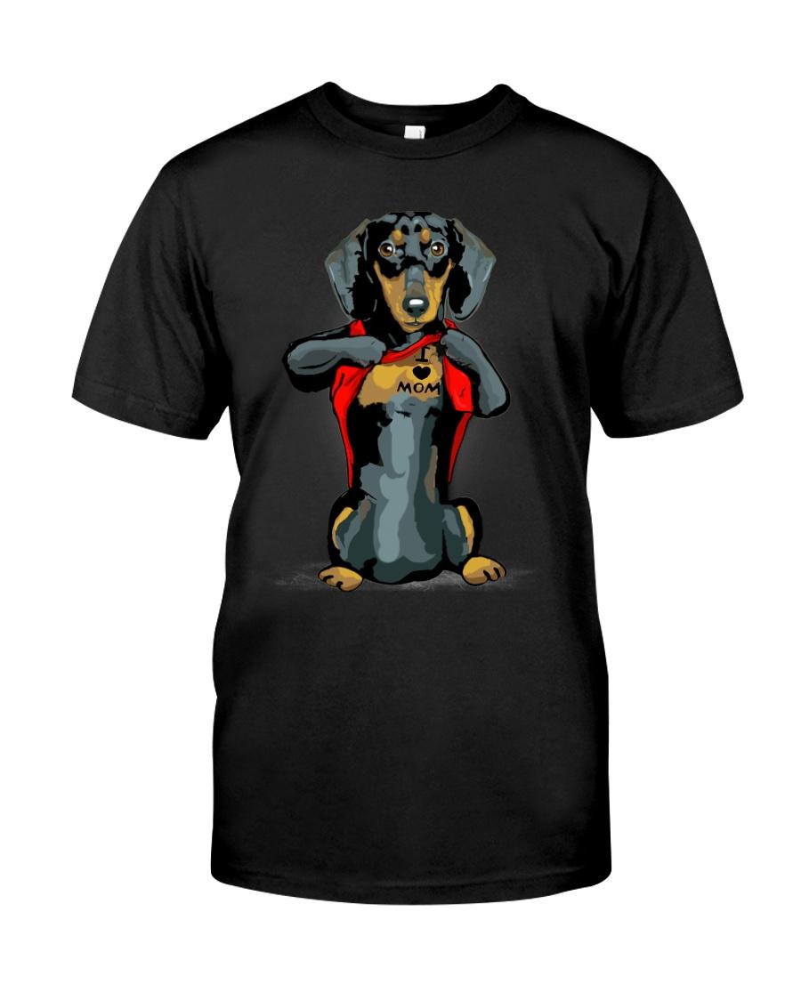 i love mom chest tattoo dachshund Classic T-Shirt