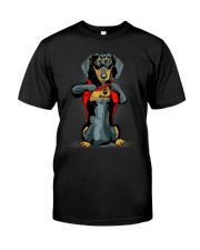 i love mom chest tattoo dachshund Classic T-Shirt front