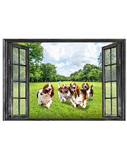 Basset Hound Playing In The Park Through The Window Poster Dog Wall Decor 17x11 Poster front