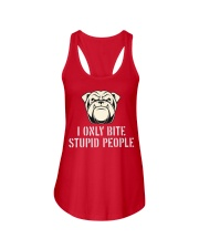 I only bite stupid people  Ladies Flowy Tank thumbnail