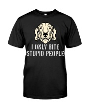 I Only Bite Stupid People Dachshund Classic T-Shirt front