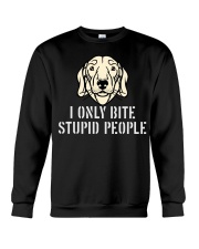I Only Bite Stupid People Dachshund Crewneck Sweatshirt thumbnail