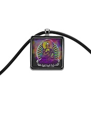 Buddha Spiritual Quote Rainbow Enlightenment Cord Rectangle Necklace thumbnail