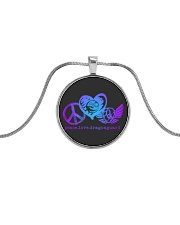 Sparkly Shiny DRAGON GUARD Metallic Circle Necklace front