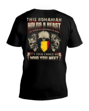 This Romanian Holds A Beast  V-Neck T-Shirt thumbnail