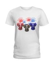 4th July US Flag Elephants Ladies T-Shirt thumbnail