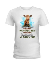 I Wanted To Go Jogging But Proverbs 28:1 Cow Ladies T-Shirt thumbnail