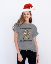 A Girl - Her Chickens Living Life In Peace Chicken Classic T-Shirt lifestyle-holiday-crewneck-front-1