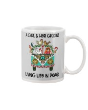 A Girl - Her Chickens Living Life In Peace Chicken Mug thumbnail