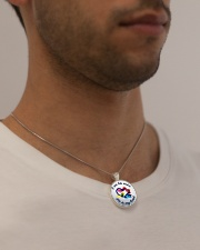 I Am His Voice He Is My Heart  Metallic Circle Necklace aos-necklace-circle-metallic-lifestyle-2