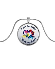 I Am His Voice He Is My Heart  Metallic Circle Necklace front
